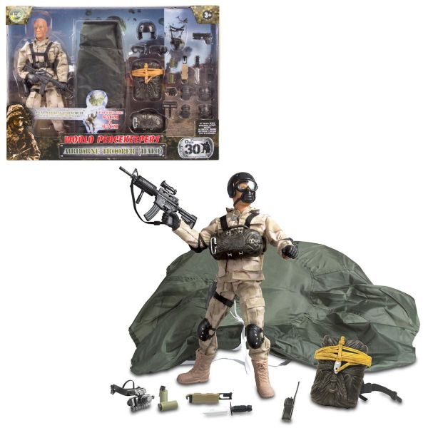 World Peacekeepers 12 Inch Airborne Trooper HALO Army Military Action Figure Toy